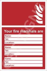 Fire Marshals Safety Sign
