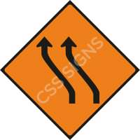 WK014 - Move Left (Two Lanes) Safety Sign