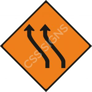 WK014 - Move Left (Two Lanes) Sign