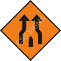 End of Obstruction Between Lanes Safety Sign