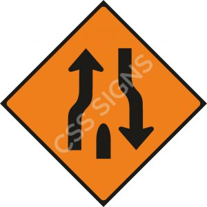 WK019 - End of Central Reserve or Obstruction Sign