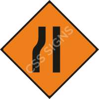 Road Narrows Left Safety Sign