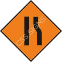 Road Narrows Right Safety Sign