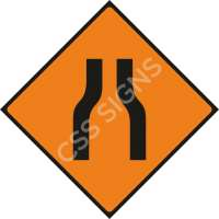 Road Narrows Both Sides Safety Sign