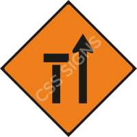 Lane 1 of 2 Closed Safety Sign