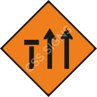 Lane 1 of 3 Closed Safety Sign