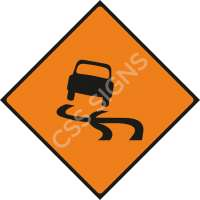Slippery Road Safety Sign