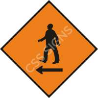 Pedestrians Cross to Left Safety Sign