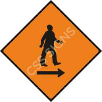 Pedestrians Cross to Right Safety Sign