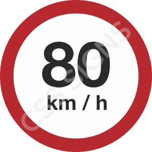 80kmh Safety Sign