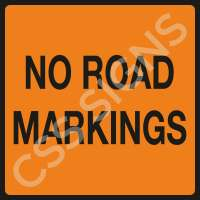 No Road Markings Safety Sign