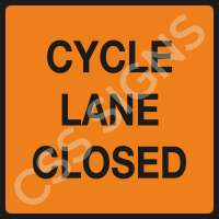 Cycle Lane Closed Safety Sign