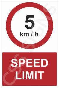 5kmh Speed Limit Safety Sign