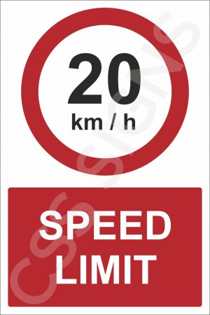 20kmh Speed Limit Safety Sign