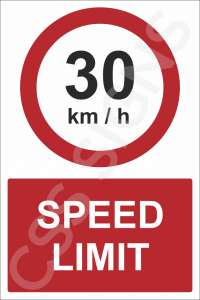 30kmh Speed Limit Safety Sign