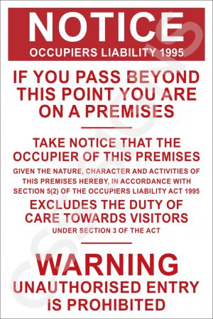 Occupiers Liability Sign