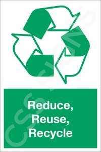Reduce, Reuse, Recycle Safety Sign