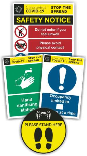 pack of covid-19 safety signs