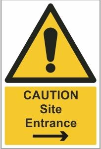 CON002b - Caution, Site entrance right