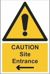CON002c - Caution, Site entrance left
