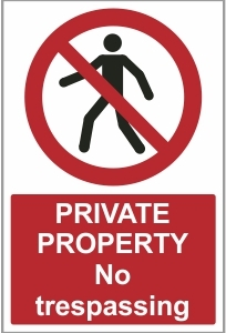 AGR026 - Private property, No trespassing