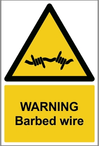 AGR016 - Warning, Barbed wire