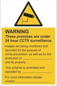 TOU001 - Warning, 24hr CCTV surveillance