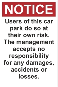 TOU044 - Users of this car park do so at their own risk