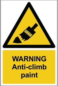 SEC008 - Warning, Anti-climb paint