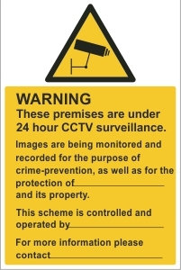SCH001 - Warning, 24hr CCTV surveillance