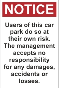 CAR019 - Users of this car park do so at their own risk