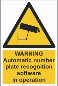 CAR030 - Warning, Automatic number plate recognition