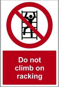 WAR020-Do-not-climb-on-racking
