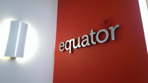 Equator brushed steel raised letters