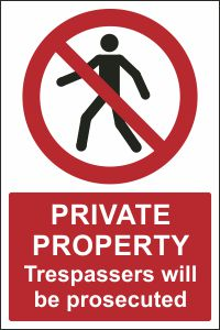 Private Property - Trespassers will be Prosecuted
