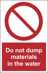 Do Not Dump Materials in the Water
