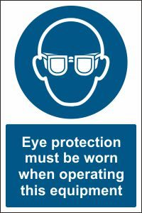 Eye Protection when Operating this Equipment