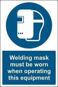 Welding Mask when Operating this Equipment