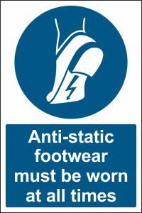 Anti-static Footwear must be Worn at all Times