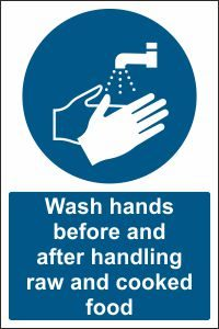 Wash Hands Handling Raw and Cooked Food