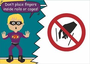 Do not put fingers in cages