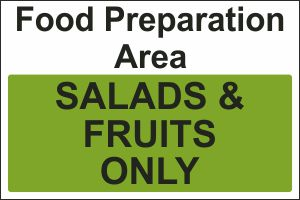 Food Preparation Area - Salads & Fruits Only