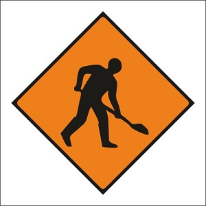 WK001 Roadworks ahead