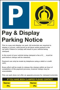 Pay & Display Parking Notice
