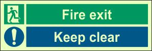 Photoluminescent - Fire Exit, Keep Clear