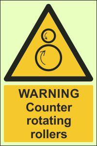 Photoluminescent - Warning, Counter-Rotating Rollers