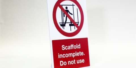 construction site safety signs - scaffold incomplete