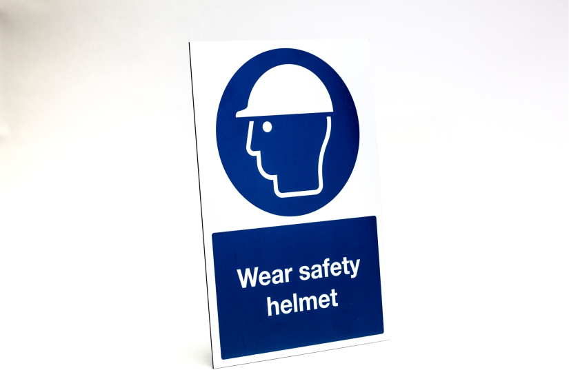 construction site safety signs - wear safety helmet