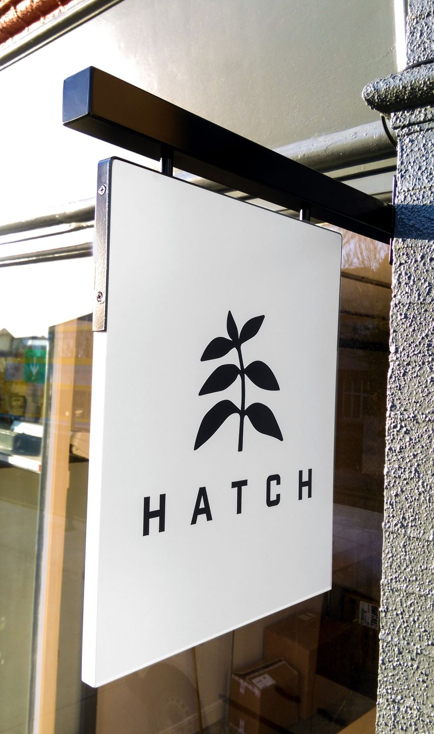 external projecting signs - hatch coffee