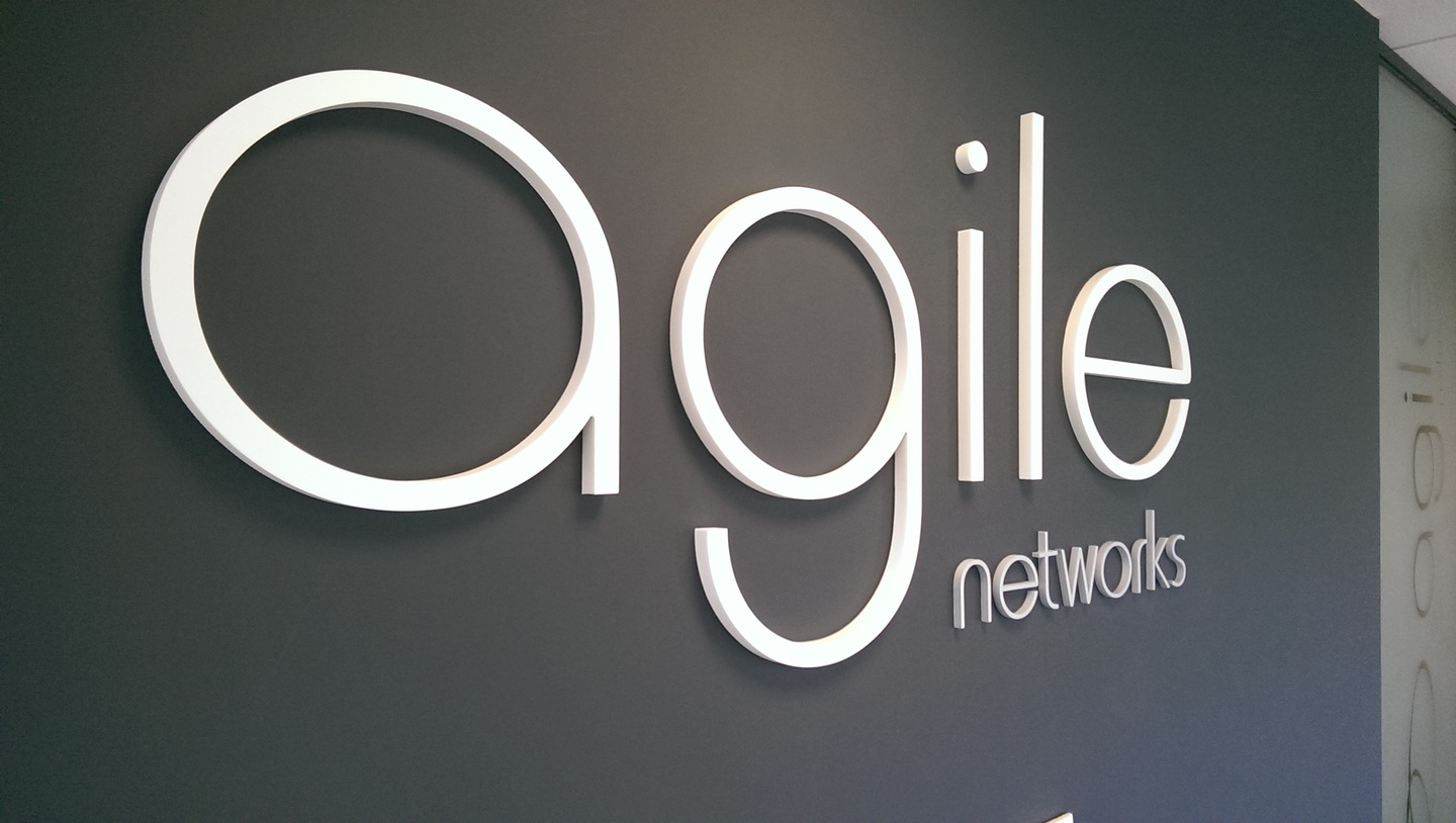 internal 3d lettering - agile networks